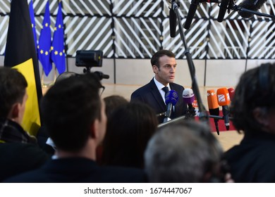 BRUSSELS - DECEMBER 13, 2018: French president Emanuel Macron makes a press statement before the European Council reunion in Brussels, on December 13, 2018.