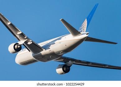 BRUSSELS - DECEMBER 3: A United Airlines Boeing 777-222 (N796UA) leaving Brussels Airport in Brussels, BELGIUM on December 3, 2015. United Airlines is the world's third-largest airline.