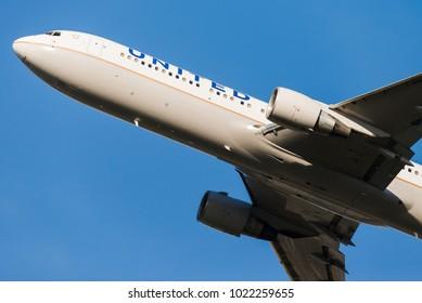 BRUSSELS - DECEMBER 3: A United Airlines Boeing 777-222 (N796UA) leaving Brussels Airport in Brussels, BELGIUM on December 3, 2015.