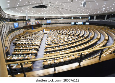 Brussels, February 2, 2015: The European Parliament hemicycle.