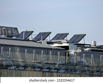 BRUSSELS - FEBRUARY 25. Solar panels on top of the European Parliament. Photo taken on February 25, 2018 in Brussels, Belgium