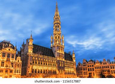 Brussels , Grand place  in summer twilight ,Belgium