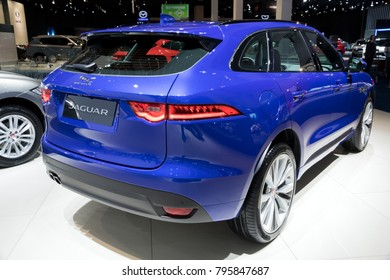 BRUSSELS - JAN 10, 2018: 2017 Jaguar F-Pace SUV car showcased at the Brussels Motor Show.