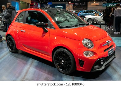 BRUSSELS - JAN 10, 2018: Abarth 595 Pista car showcased at the Brussels Expo Autosalon motor show.