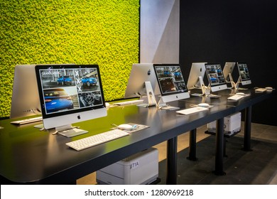 BRUSSELS - JAN 10, 2018: Apple iMac computer with information about the new Opel Grandland X car shown at the Brussels Motor Show.