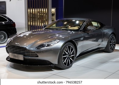 BRUSSELS - JAN 10, 2018: Aston Martin DB11 Grand Tourer Coupe car showcased at the Brussels Motor Show.