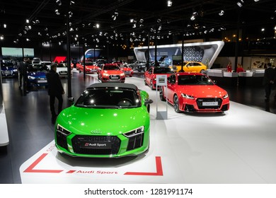 BRUSSELS - JAN 10, 2018: Audi R8 sports car showcased at the Brussels Expo Autosalon motor show.