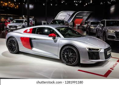BRUSSELS - JAN 10, 2018: Audi R8 V10 sports car showcased at the Brussels Expo Autosalon motor show.