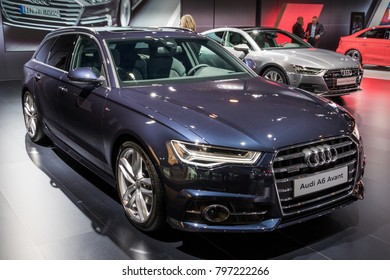 BRUSSELS - JAN 10, 2018: Audi A6 Avant car showcased at the Brussels Motor Show.