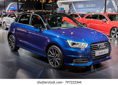 BRUSSELS - JAN 10, 2018: Audi A1 economy car showcased at the Brussels Motor Show.