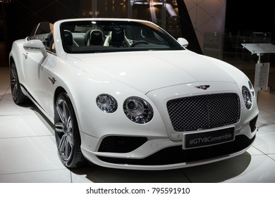 BRUSSELS - JAN 10, 2018: Bentley Continental GT V8 Convertible car showcased at the Brussels Motor Show.