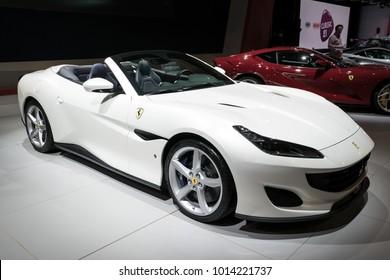 BRUSSELS - JAN 10, 2018: Ferrari Portofino sports car shown at the Brussels Motor Show.