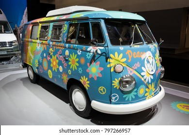 BRUSSELS - JAN 10, 2018: Flower Power Volkswagen Transport camper van shown at the Brussels Motor Show.