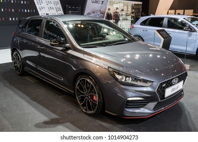 BRUSSELS - JAN 10, 2018: Hyundai i30 N car shown at the Brussels Motor Show.