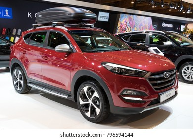 BRUSSELS - JAN 10, 2018: Hyundai Tucson compact crossover SUV car showcased at the Brussels Motor Show.