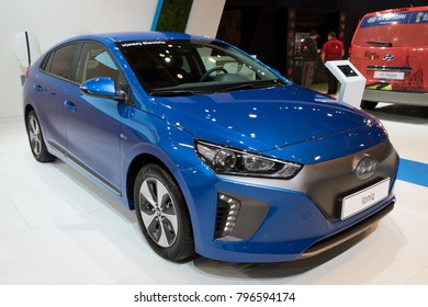 BRUSSELS - JAN 10, 2018: Hyundai Ioniq electric car showcased at the Brussels Motor Show.
