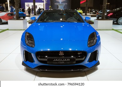 BRUSSELS - JAN 10, 2018: Jaguar F-Type sports car showcased at the Brussels Motor Show.