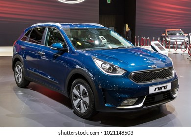 BRUSSELS - JAN 10, 2018: Kia Niro crossover hybride car shown at the Brussels Motor Show.