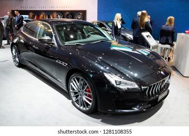 BRUSSELS - JAN 10, 2018: Maserati Quattroporte luxury sports sedan car showcased at the Brussels Expo Autosalon motor show.
