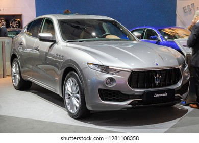 BRUSSELS - JAN 10, 2018: Maserati Levante mid-size luxury crossover SUV car showcased at the Brussels Expo Autosalon motor show.