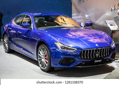 BRUSSELS - JAN 10, 2018: Maserati Ghibli luxury car showcased at the Brussels Expo Autosalon motor show.