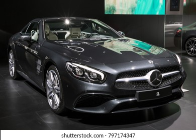 BRUSSELS - JAN 10, 2018: Mercedes AMG SL sports car showcased at the Brussels Motor Show.