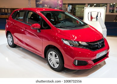 BRUSSELS - JAN 10, 2018: New Honda Jazz car shown at the Brussels Motor Show.