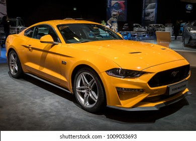 BRUSSELS - JAN 10, 2018: New 2018 Ford Mustang GT sports car shown at the Brussels Motor Show.
