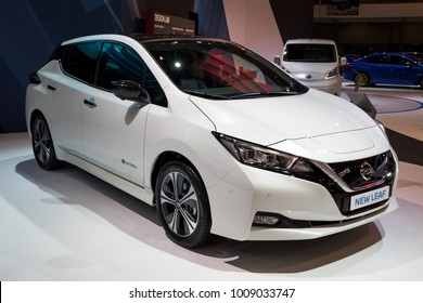 BRUSSELS - JAN 10, 2018: New Nissan LEAF electric car shown at the Brussels Motor Show.