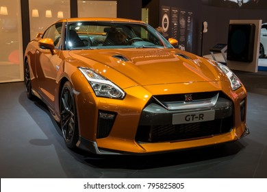 BRUSSELS - JAN 10, 2018: New 2018 Nissan GT-R sports car showcased at the Brussels Motor Show.