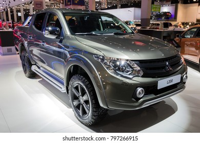 BRUSSELS - JAN 10, 2018: New Mitsubishi L200 Triton pickup truck shown at the Brussels Motor Show.