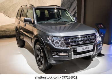 BRUSSELS - JAN 10, 2018: New Mitsubishi Pajero midzsize SUV car shown at the Brussels Motor Show.