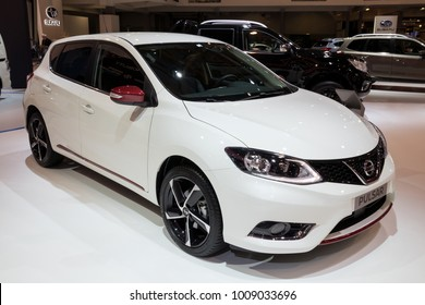 BRUSSELS - JAN 10, 2018: Nissan Pulsar car shown at the Brussels Motor Show.