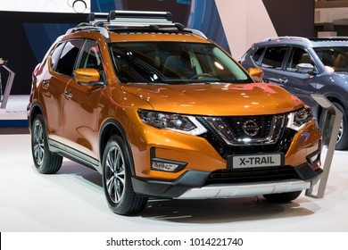 BRUSSELS - JAN 10, 2018: Nissan X-Trail compact crossover SUV car shown at the Brussels Motor Show.