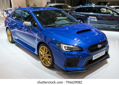 BRUSSELS - JAN 10, 2018: Subaru WRX STI car showcased at the Brussels Motor Show.