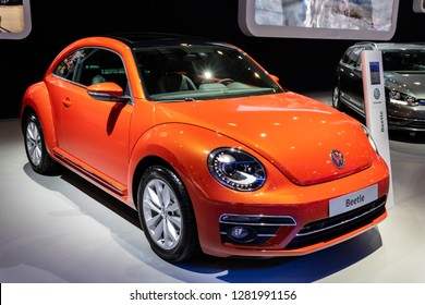 BRUSSELS - JAN 10, 2018: Volkswagen Beetle car showcased at the Brussels Expo Autosalon motor show.