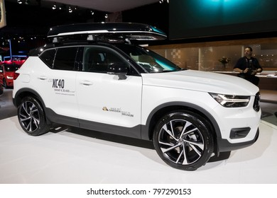 BRUSSELS - JAN 10, 2018: Volvo XC40 compact SUV car shown at the Brussels Motor Show.