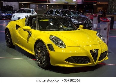 BRUSSELS - JAN 12, 2016: Alfa Romeo 4C sports car on display at the Brussels Motor Show.