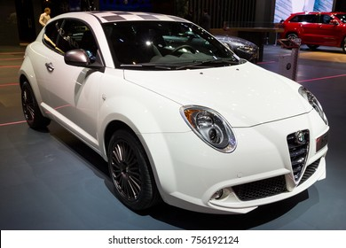 BRUSSELS - JAN 12, 2016: Alfa Romeo MiTo car showcased at the Brussels Motor Show.