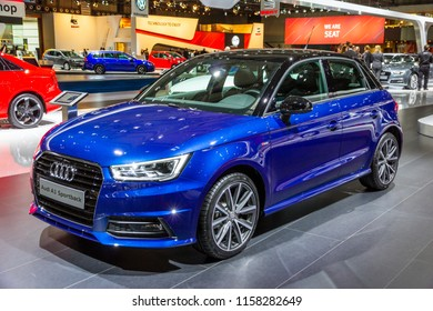 BRUSSELS - JAN 12, 2016: Audi A1 Sportback car showcased at the Brussels Motor Show.