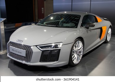 BRUSSELS - JAN 12, 2016: Audi R8 V10 Plus on display at the Brussels Motor Show.