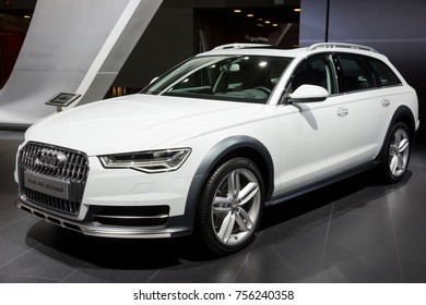 BRUSSELS - JAN 12, 2016: Audi A6 Allroad car showcased at the Brussels Motor Show.