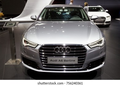 BRUSSELS - JAN 12, 2016: Audi A6 Berline car showcased at the Brussels Motor Show.