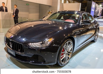 BRUSSELS - JAN 12, 2016: Maserati Ghibli car showcased at the Brussels Motor Show.