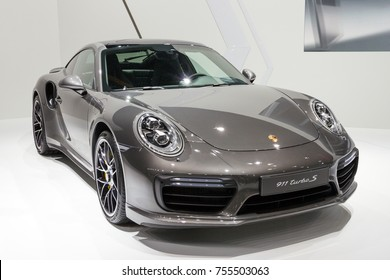 BRUSSELS - JAN 12, 2016: New Porsche 911 Turbo S sports car showcased at the Brussels Motor Show.