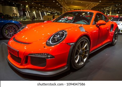 BRUSSELS - JAN 12, 2016: Porsche 911 GT3 RS sports car showcased at the Brussels Motor Show.