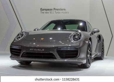 BRUSSELS - JAN 12, 2016: Porsche 911 Turbo S sports car showcased at the Brussels Motor Show.