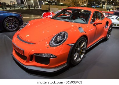 BRUSSELS - JAN 12, 2016: Porsche 911 GT3RS on display at the Brussels Motor Show.
