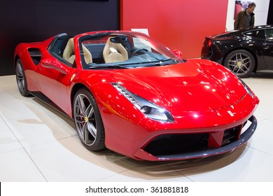 BRUSSELS - JAN 12, 2016: Red Ferrari 488 Spider sports car shown at the Brussels Motor Show.