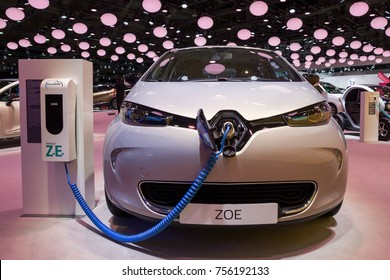 BRUSSELS - JAN 12, 2016: Renault Zoe electric car showcased at the Brussels Motor Show.
